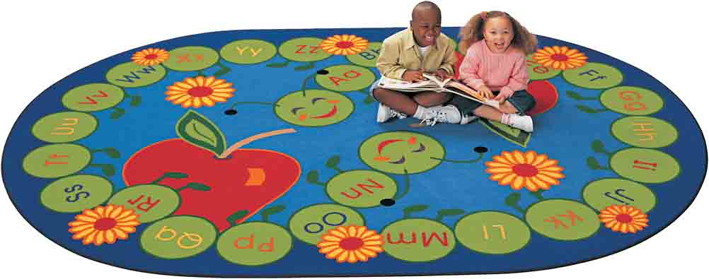 Carpet for Kids Oval ABC Caterpillar Rug