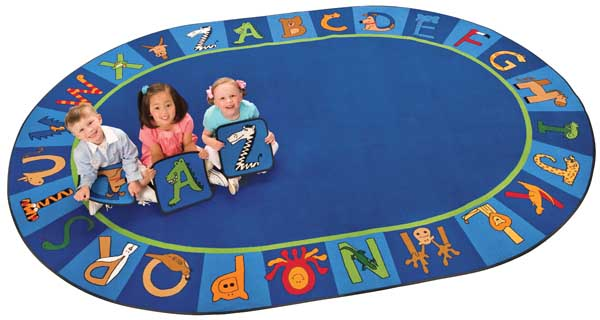 Carpet for Kids Oval A to Z Animals Carpet