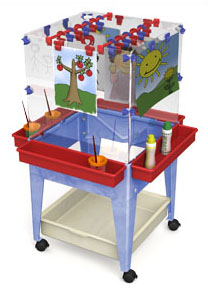Child Brite Youth 4 Station Space Saver Easel with Tray