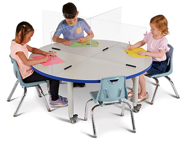 "See-Thru Table Divider Shields - 4 Station - 47.5"" x 47.5"" x 16"""